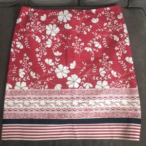 Red white floral with navy grosgrain ribbon skirt